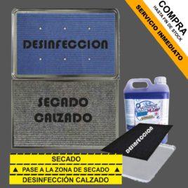 "KIT de Alfombras + cubeta <p>+ Virucida + Pegatinas </p><p style=""background:orange; color:black; font-weight:bold; solid orange;"">Desde 85,00 €/und</p>"
