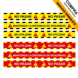 "Pegatina de suelo <p> 100x10cm </p><p style=""background:orange; color:black; font-weight:bold; solid orange;"">Desde 2,00 €/und</p>"