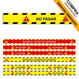 """Pegatina de suelo seguridad <p> 80x5cm </p><p style=""""background:orange; color:black; font-weight:bold; solid orange;"""">Desde 0,80 €/und</p>"""